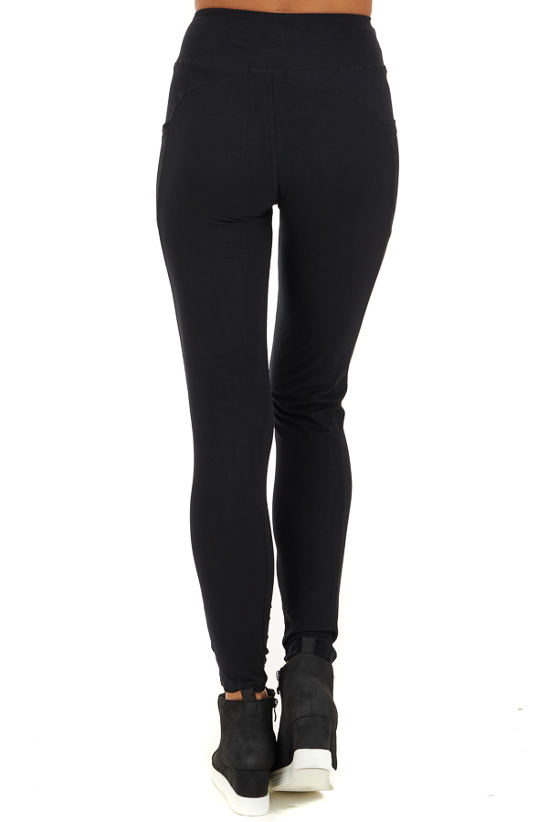 Black Athletic High Waisted Leggings with Side Pockets back view