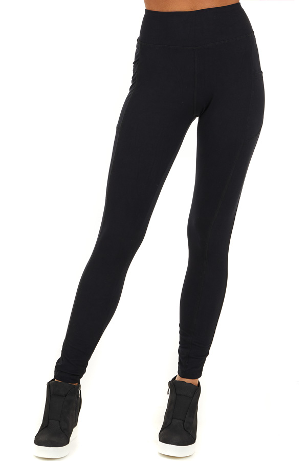 Black Athletic High Waisted Leggings with Side Pockets front view