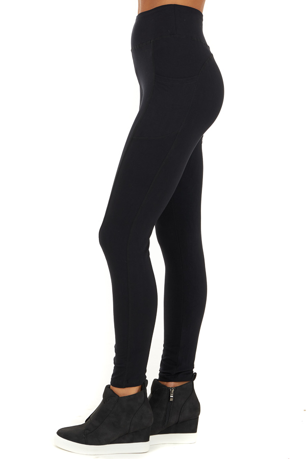Black Athletic High Waisted Leggings with Side Pockets side view