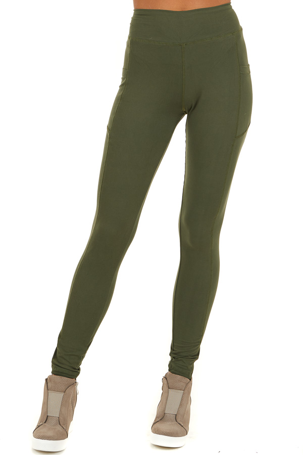 Olive Athletic High Waisted Leggings with Side Pockets front view