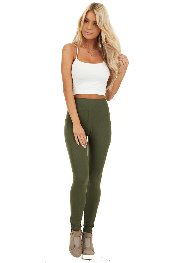 Olive Athletic High Waisted Leggings with Side Pockets front full body