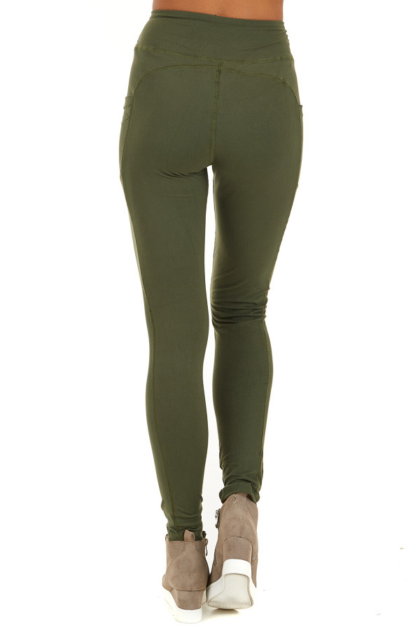 Olive Athletic High Waisted Leggings with Side Pockets back view