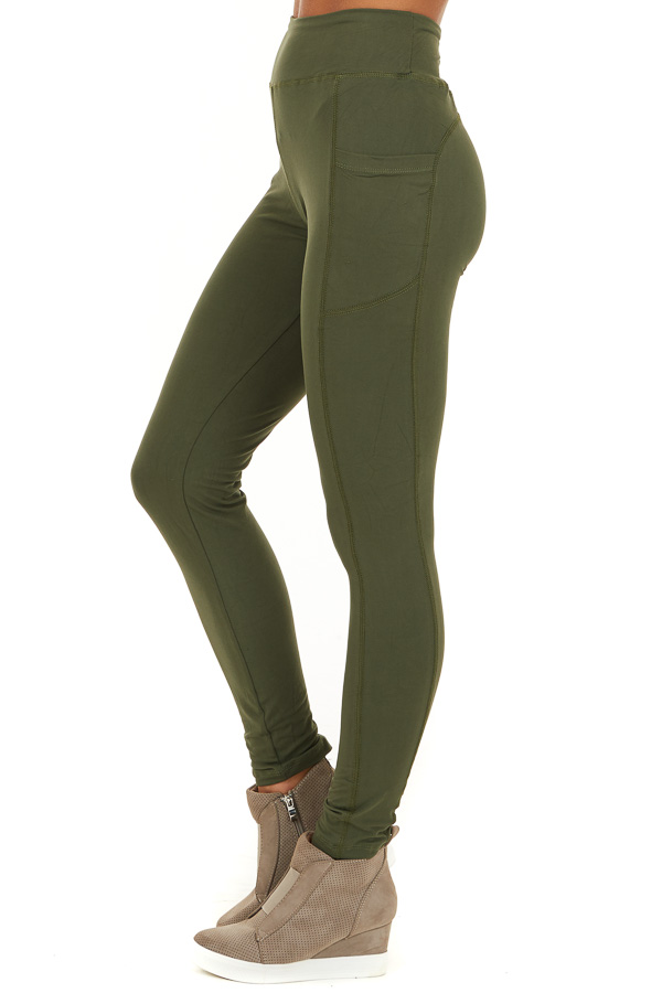 Olive Athletic High Waisted Leggings with Side Pockets side view