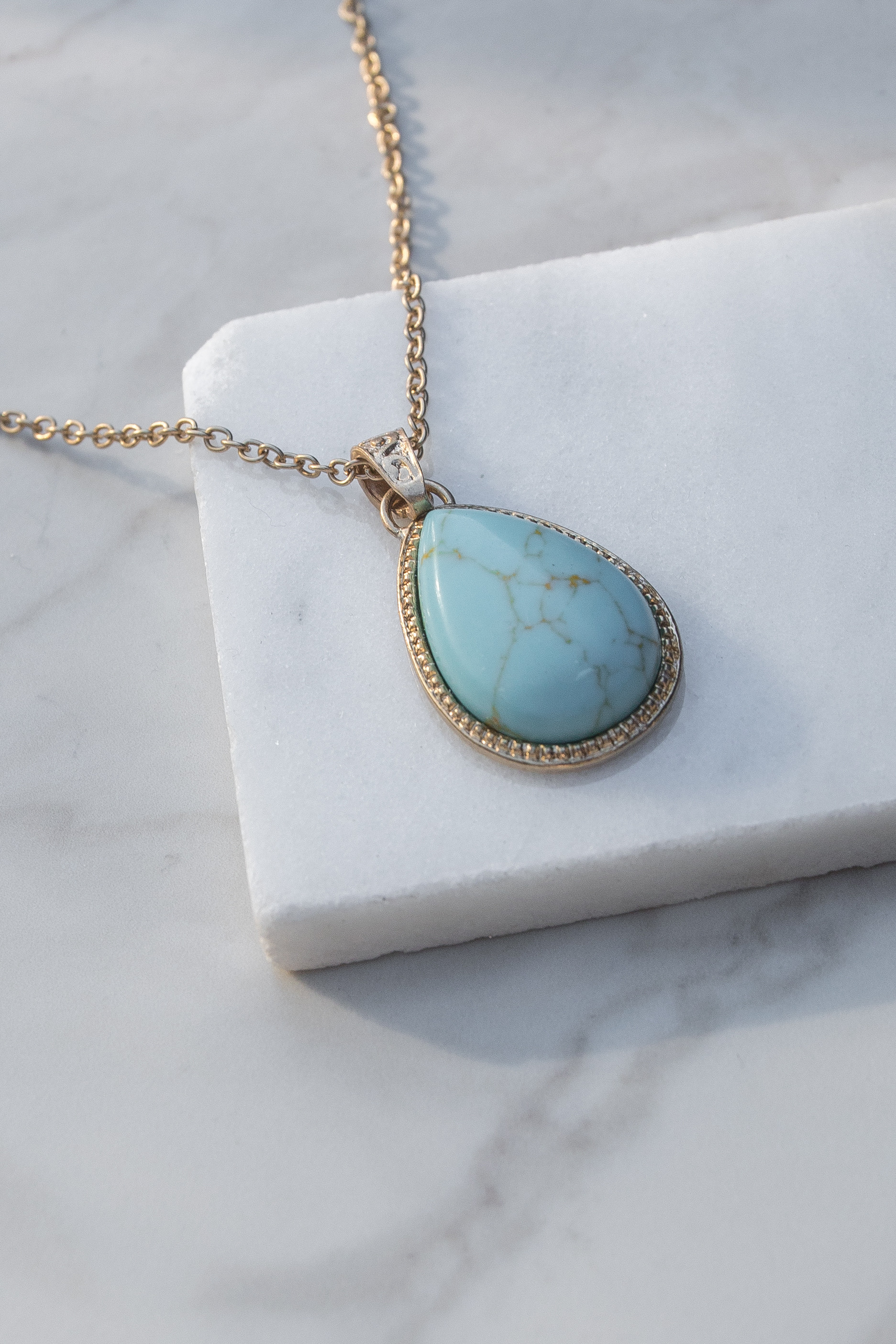 Gold Chain Necklace with Turquoise Teardrop Pendant