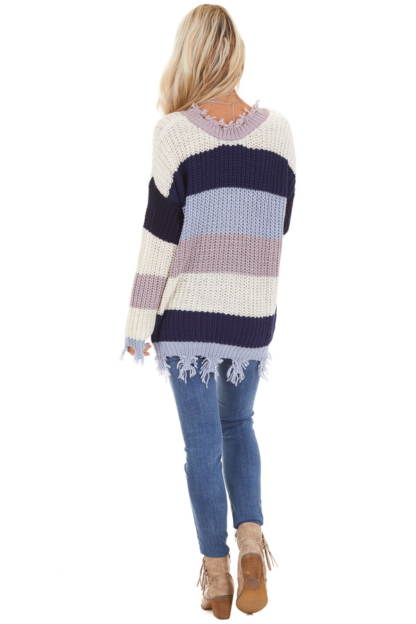 Navy and Ivory Color Block Striped Knit Distressed Sweater back full body