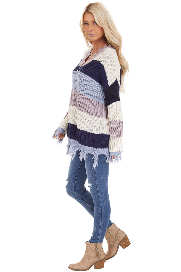 Navy and Ivory Color Block Striped Knit Distressed Sweater side full body