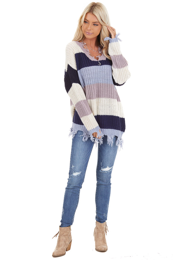 Navy and Ivory Color Block Striped Knit Distressed Sweater front full body