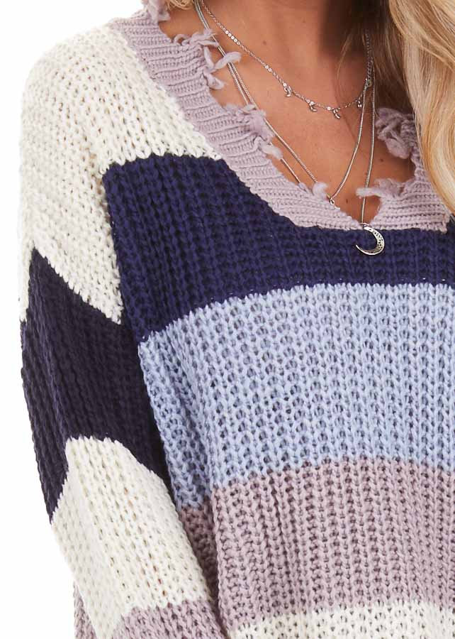 Navy and Ivory Color Block Striped Knit Distressed Sweater detail