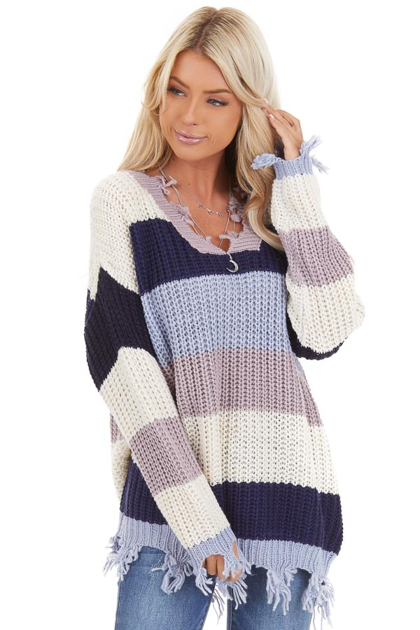 Navy and Ivory Color Block Striped Knit Distressed Sweater front close up
