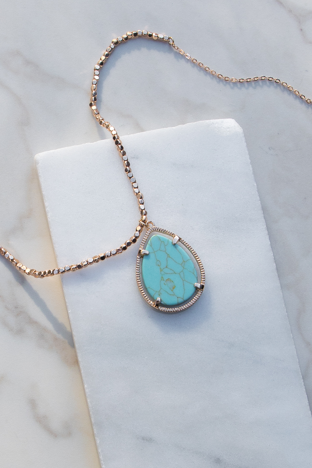 Gold Necklace with Beaded Details and Turquoise Pendant