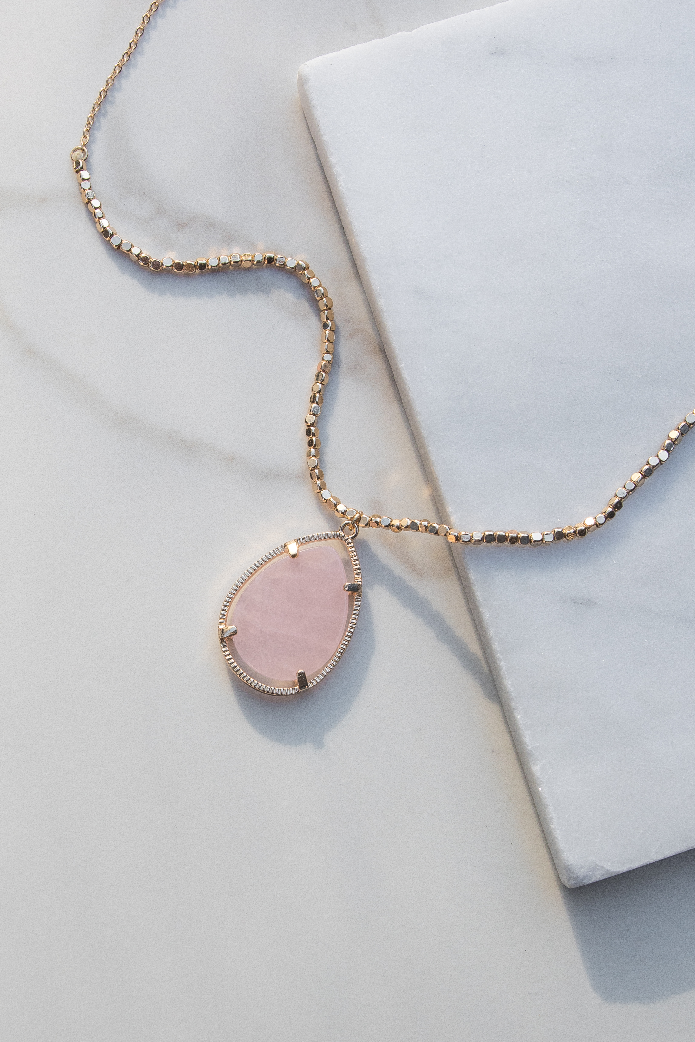 Gold Necklace with Beaded Details and Rose Quartz Pendant