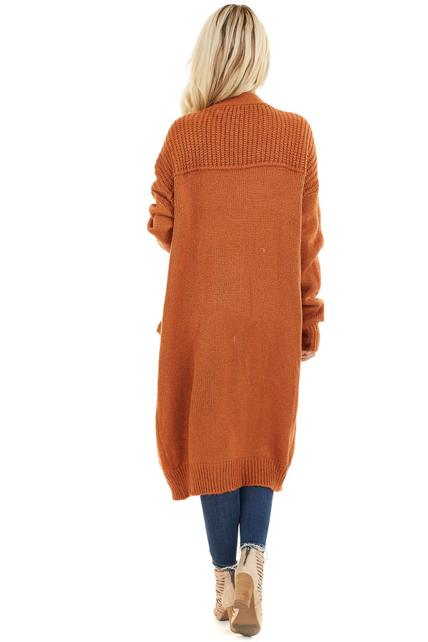 Burnt Orange Open Front Cardigan with Pockets back full body