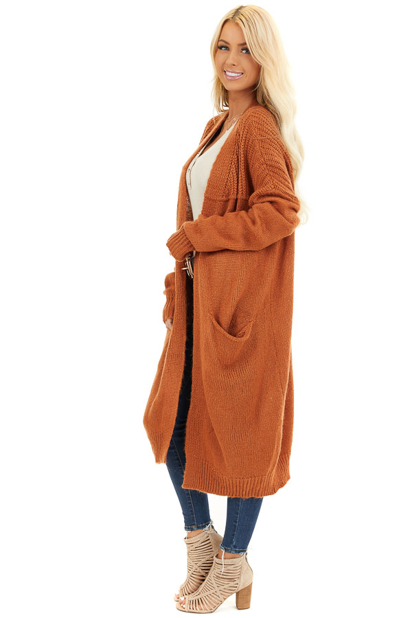 Burnt Orange Open Front Cardigan with Pockets side full body