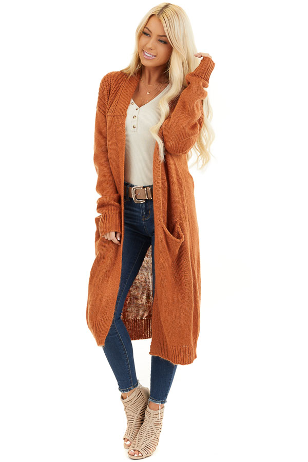Burnt Orange Open Front Cardigan with Pockets front full body
