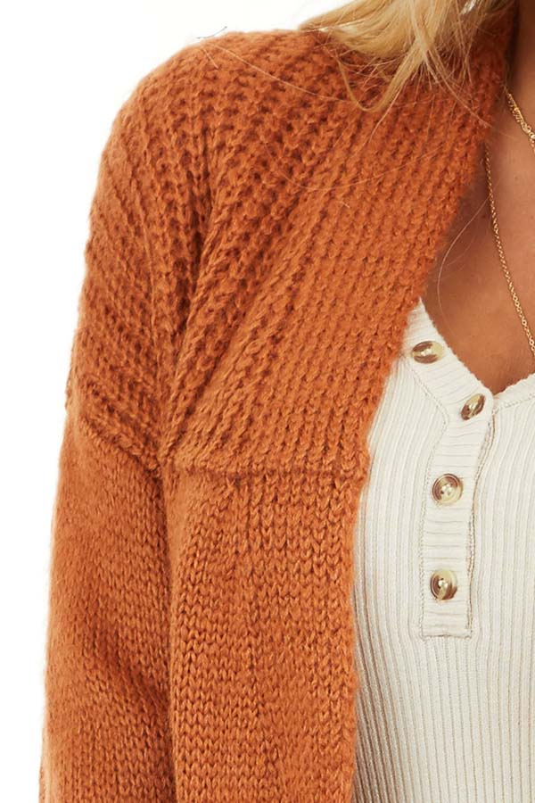 Burnt Orange Open Front Cardigan with Pockets detail