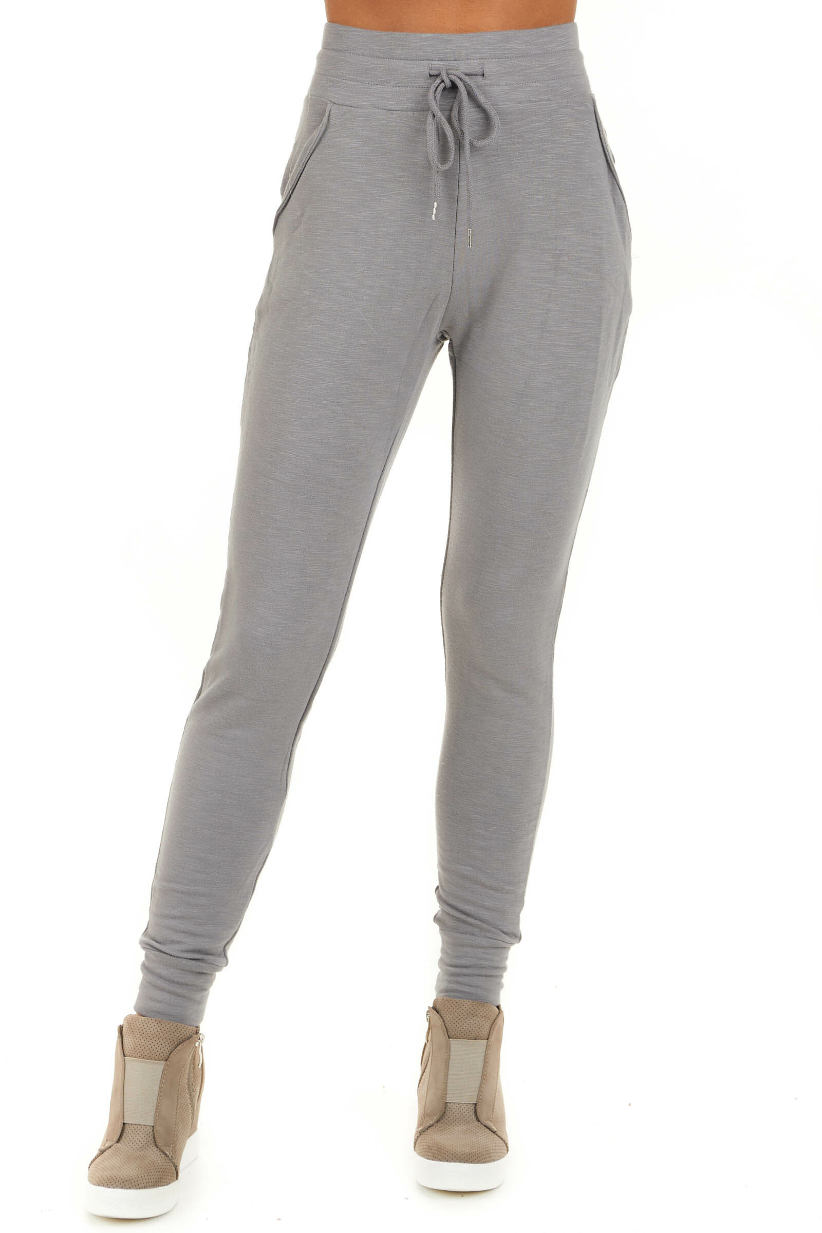 Heather Grey Joggers with Front Pockets and Drawstring Waist front view