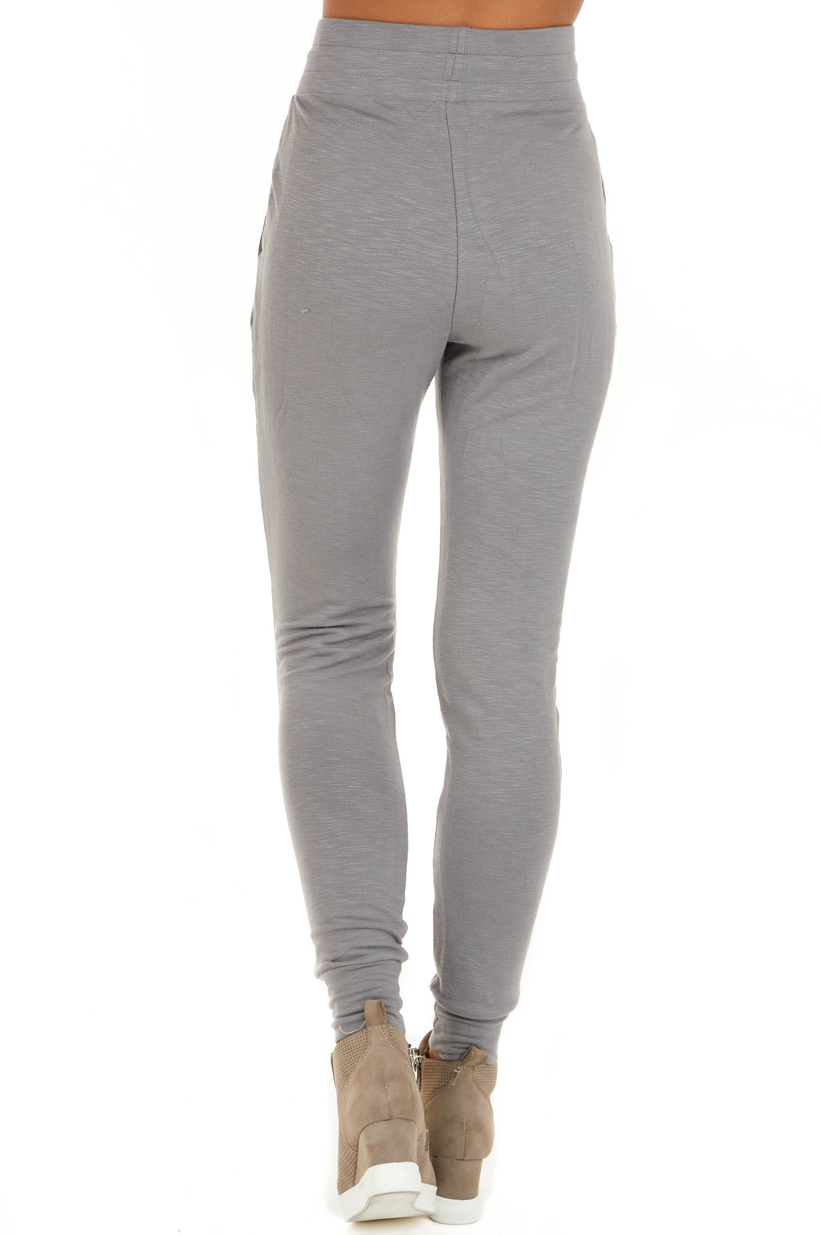 Heather Grey Joggers with Front Pockets and Drawstring Waist back view