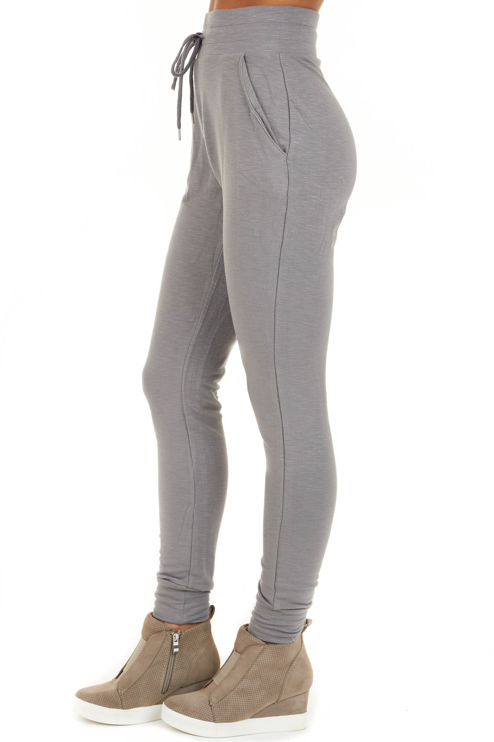 Heather Grey Joggers with Front Pockets and Drawstring Waist side view