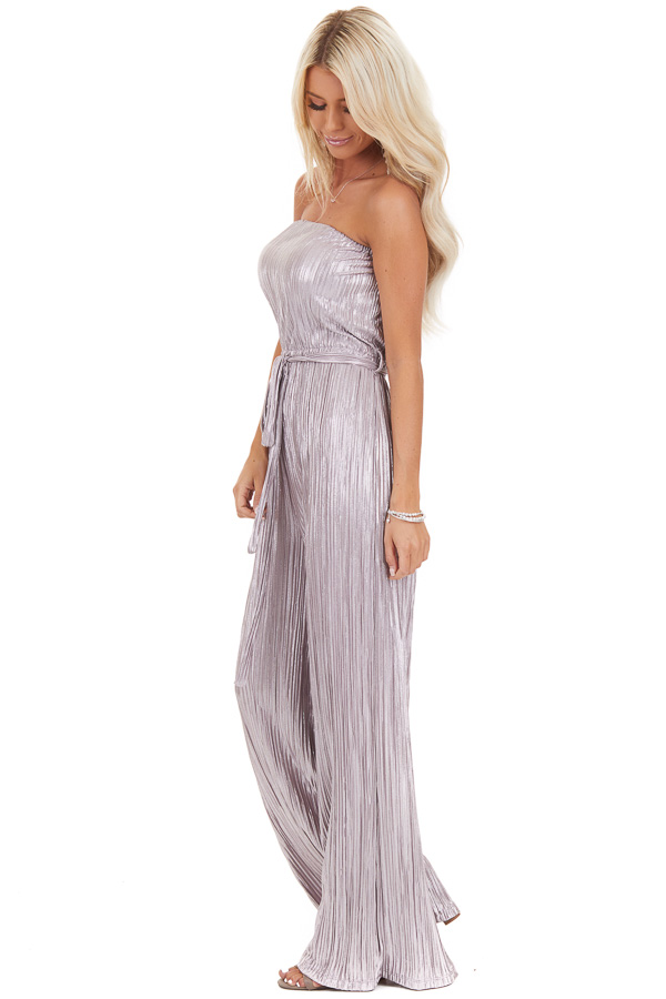 Pale Lavender Pleated Strapless Jumpsuit with Waist Sash side full body