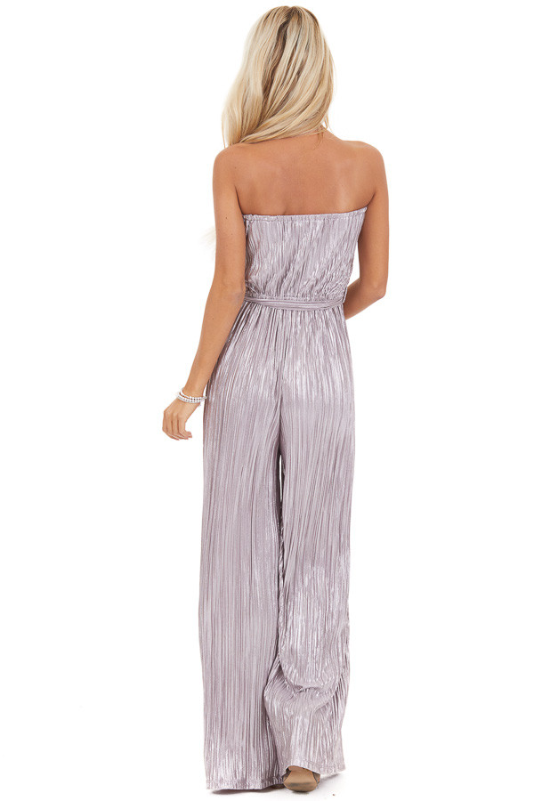 Pale Lavender Pleated Strapless Jumpsuit with Waist Sash back full body