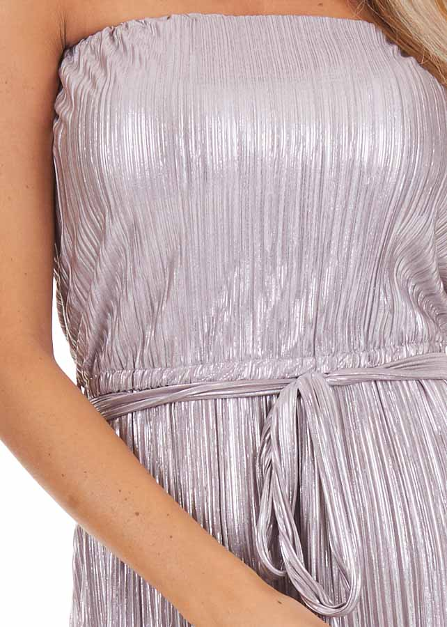 Pale Lavender Pleated Strapless Jumpsuit with Waist Sash detail