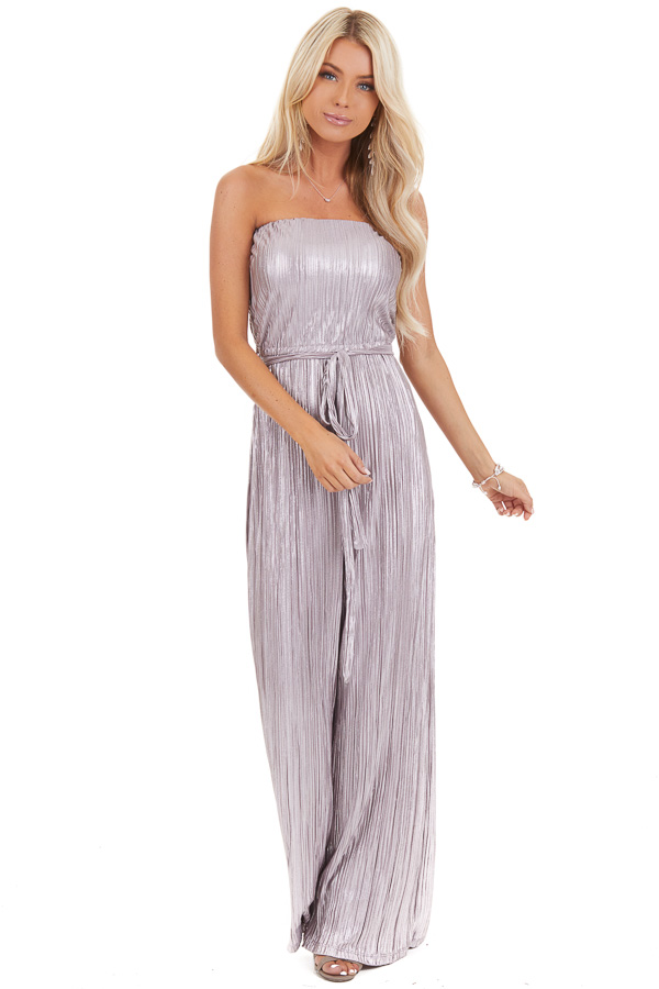 Pale Lavender Pleated Strapless Jumpsuit with Waist Sash front full body