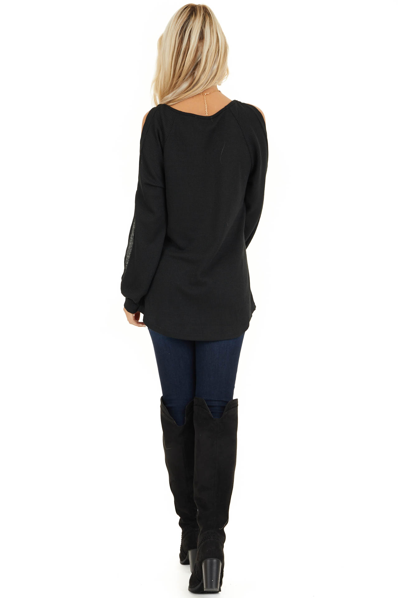 Black Cold Shoulder Waffle Knit Top with Sleeve Cutouts back full body