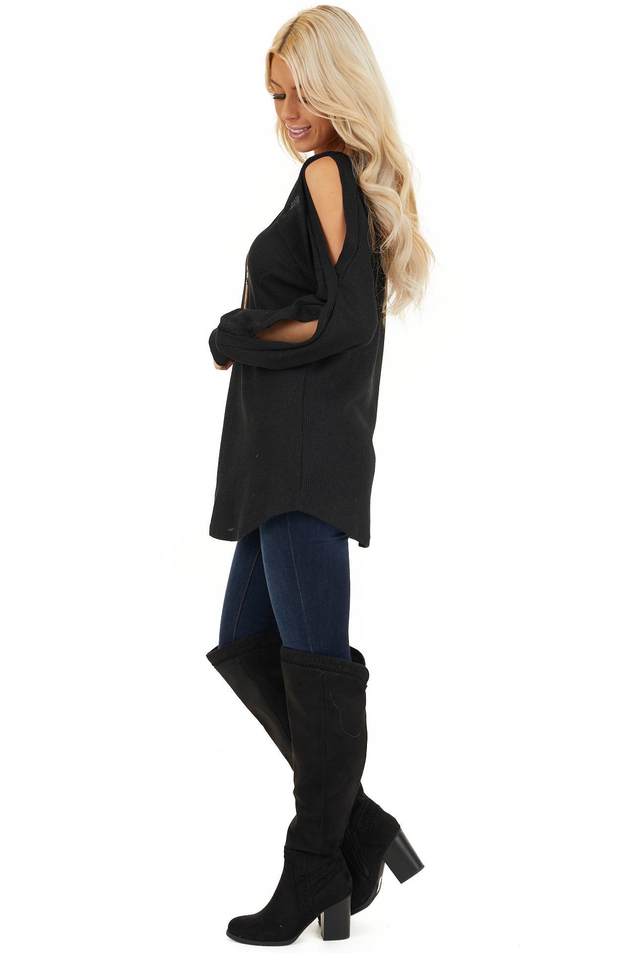 Black Cold Shoulder Waffle Knit Top with Sleeve Cutouts side full body