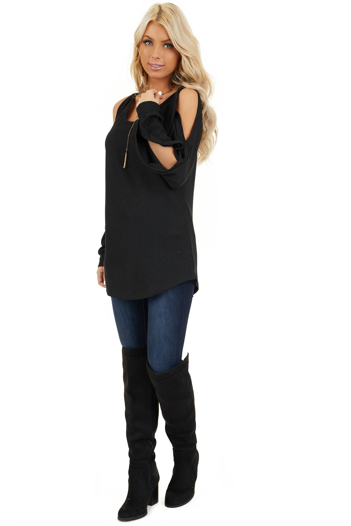 Black Cold Shoulder Waffle Knit Top with Sleeve Cutouts front full body