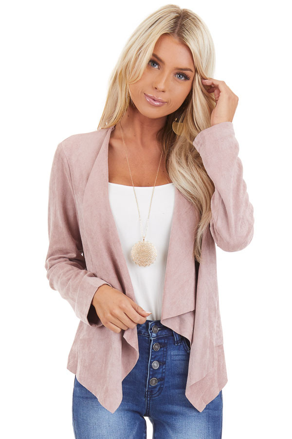 Dusty Rose Long Sleeve Faux Suede Open Front Blazer front close up