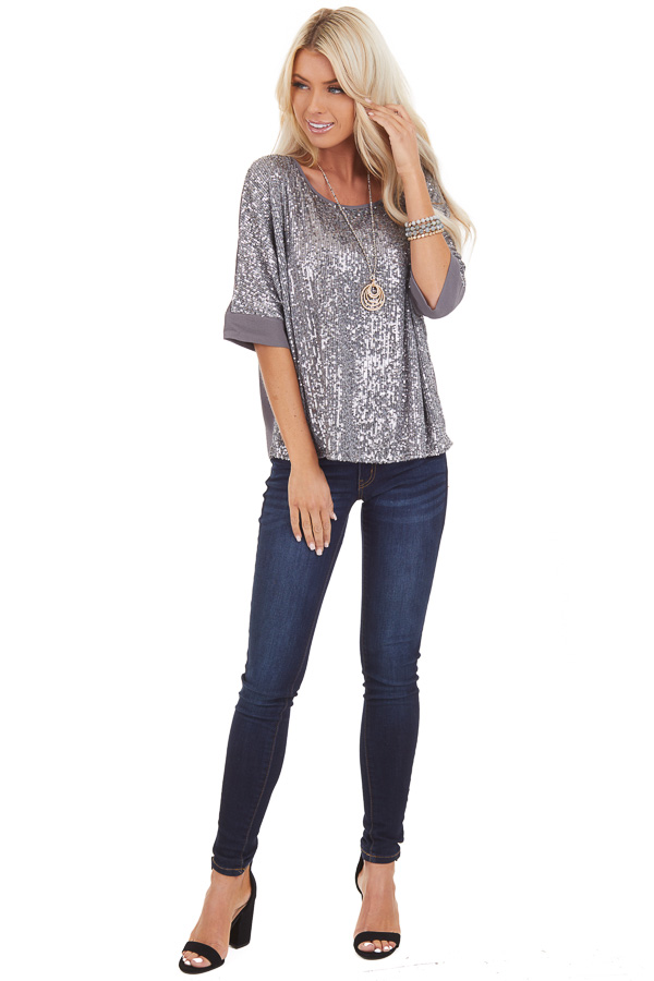 Stormy Grey Dolman Short Sleeve Top with Silver Sequins front full body