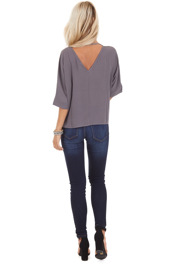 Stormy Grey Dolman Short Sleeve Top with Silver Sequins back full body