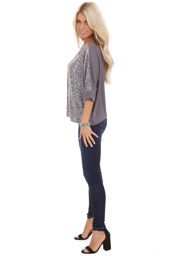 Stormy Grey Dolman Short Sleeve Top with Silver Sequins side full body