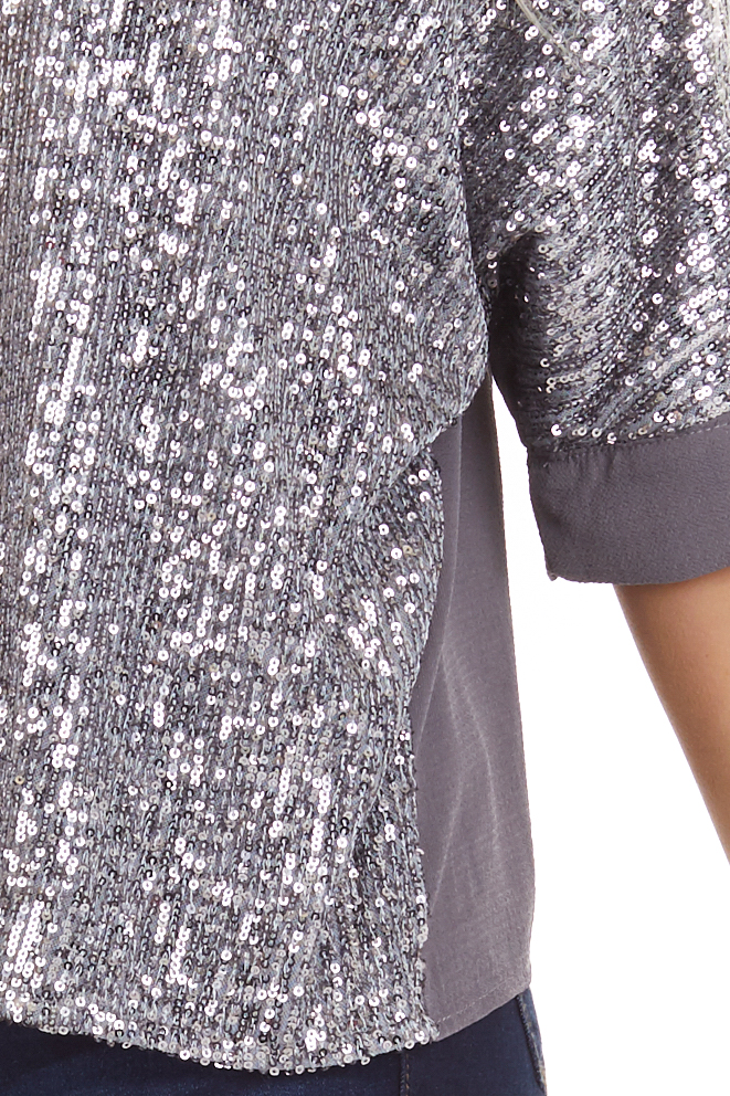 Stormy Grey Dolman Short Sleeve Top with Silver Sequins detail