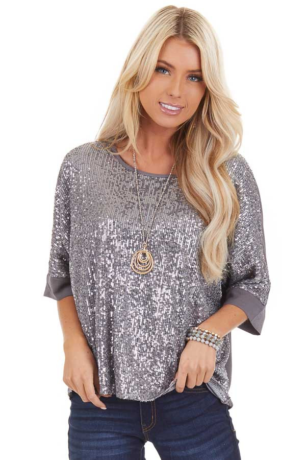 Stormy Grey Dolman Short Sleeve Top with Silver Sequins front close up