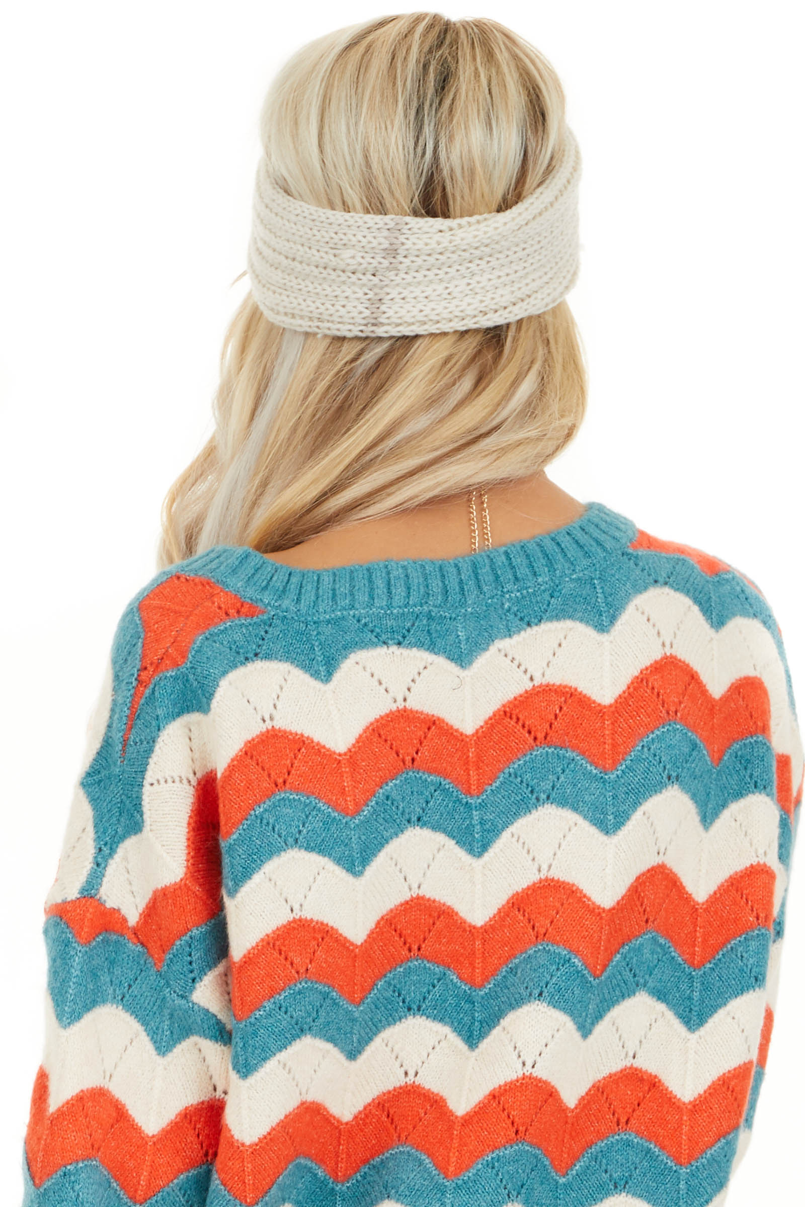 Ivory Crochet Knit Headband with Front Knot Detail back view