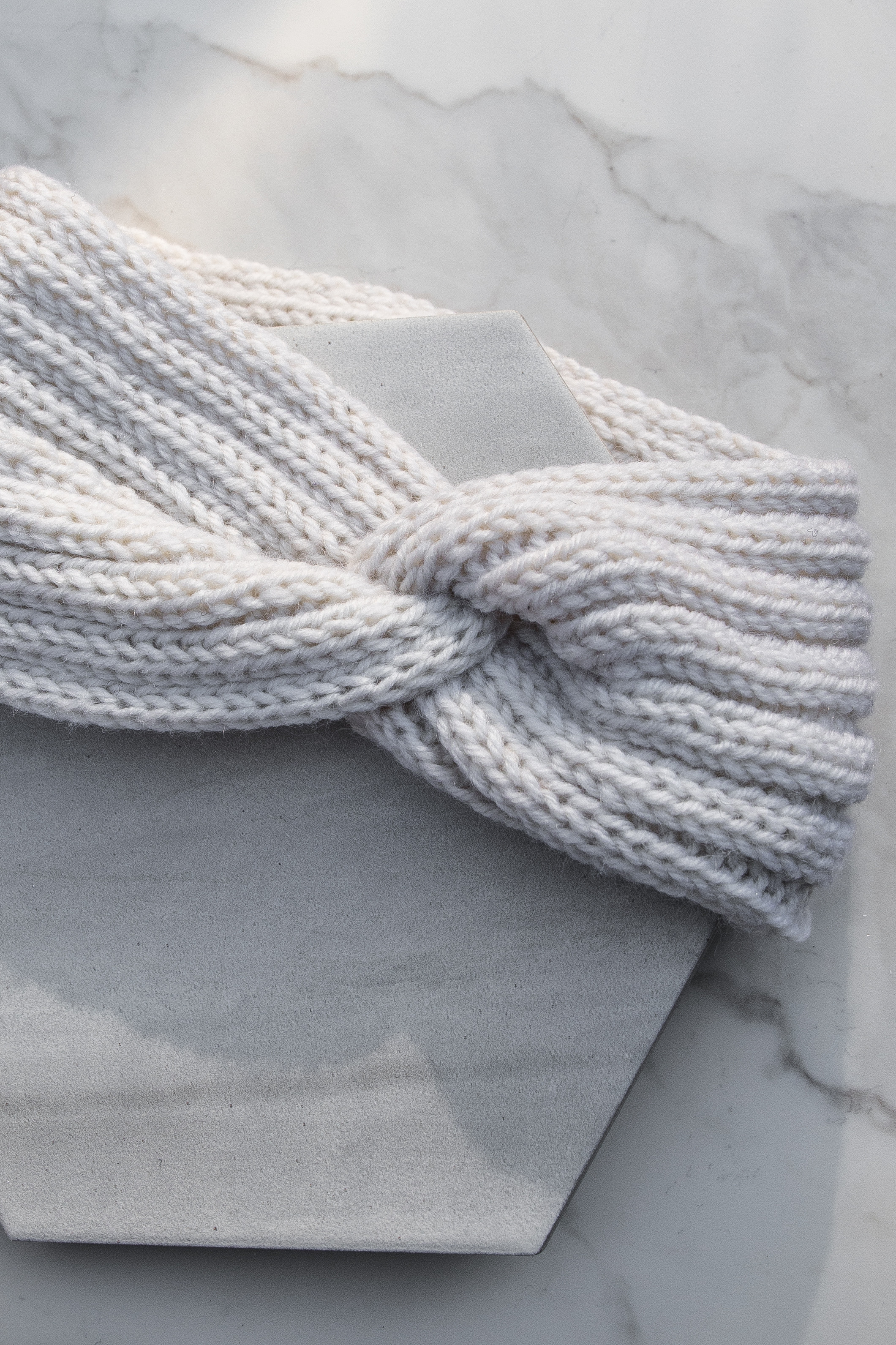 Ivory Crochet Knit Headband with Front Knot Detail