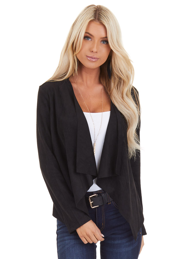 Black Long Sleeve Faux Suede Open Front Blazer front close up