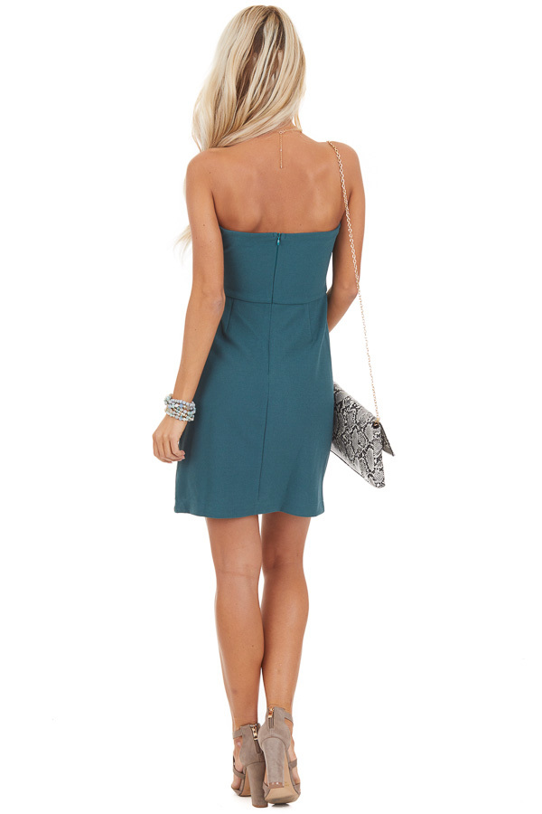 Pine Green Strapless Mini Dress with Pleated Details back full body