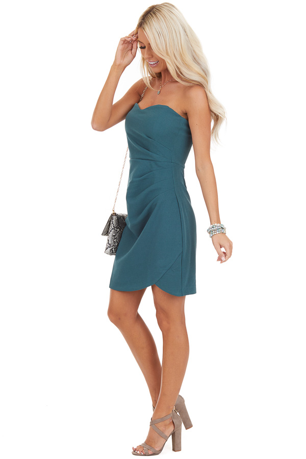Pine Green Strapless Mini Dress with Pleated Details side full body