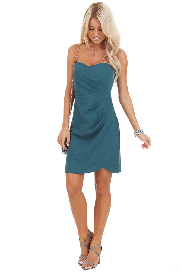 Pine Green Strapless Mini Dress with Pleated Details front full body