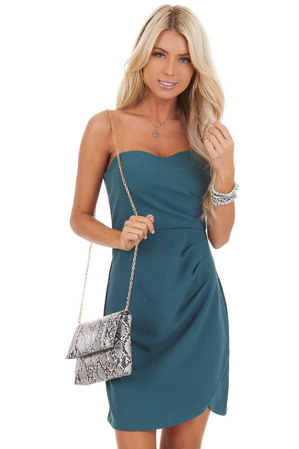 Pine Green Strapless Mini Dress with Pleated Details front close up