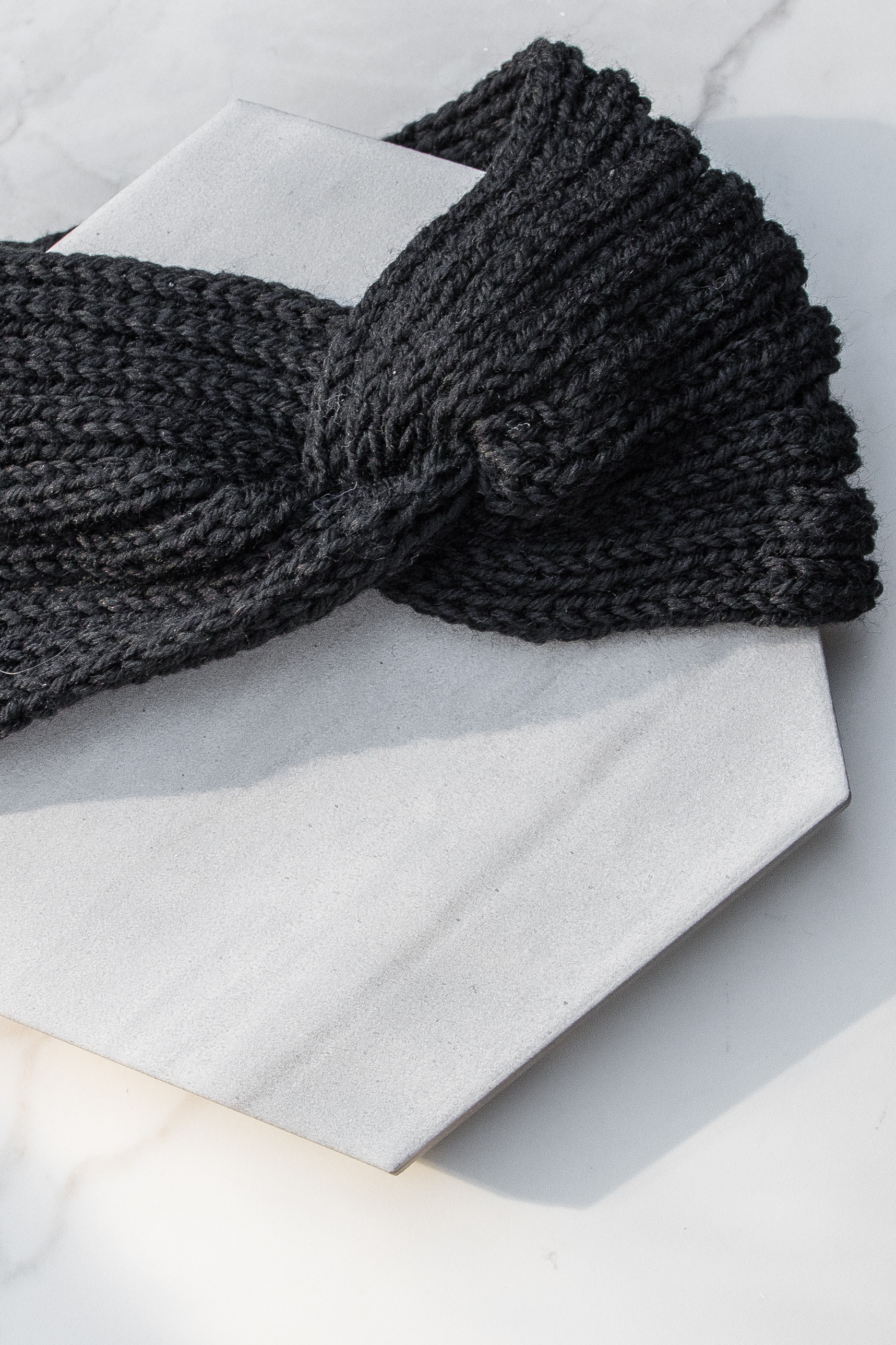Black Crochet Knit Headband with Front Knot Detail