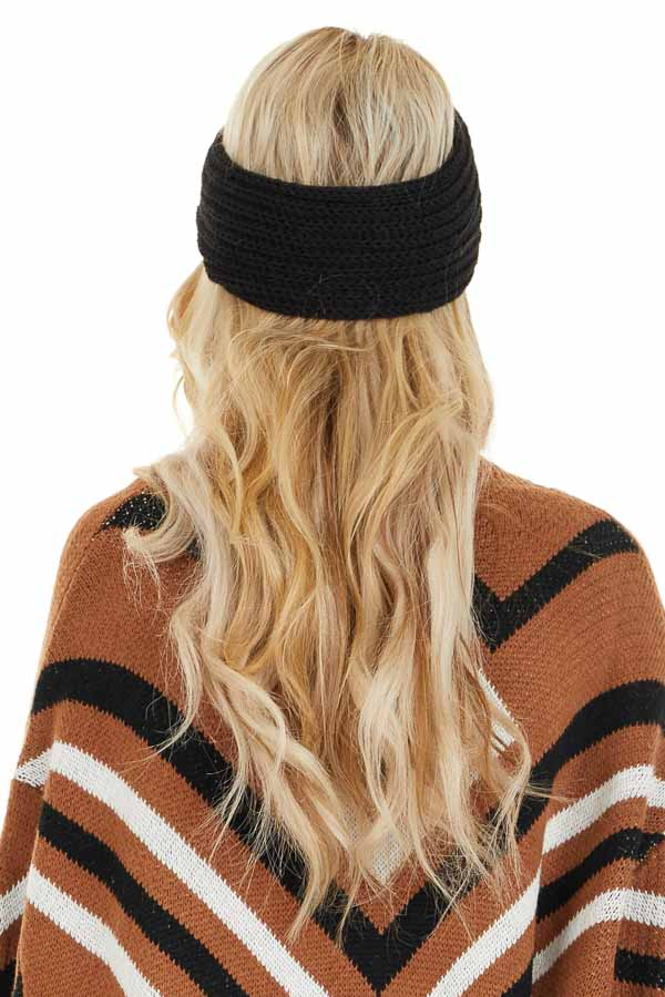 Black Crochet Knit Headband with Front Knot Detail back view