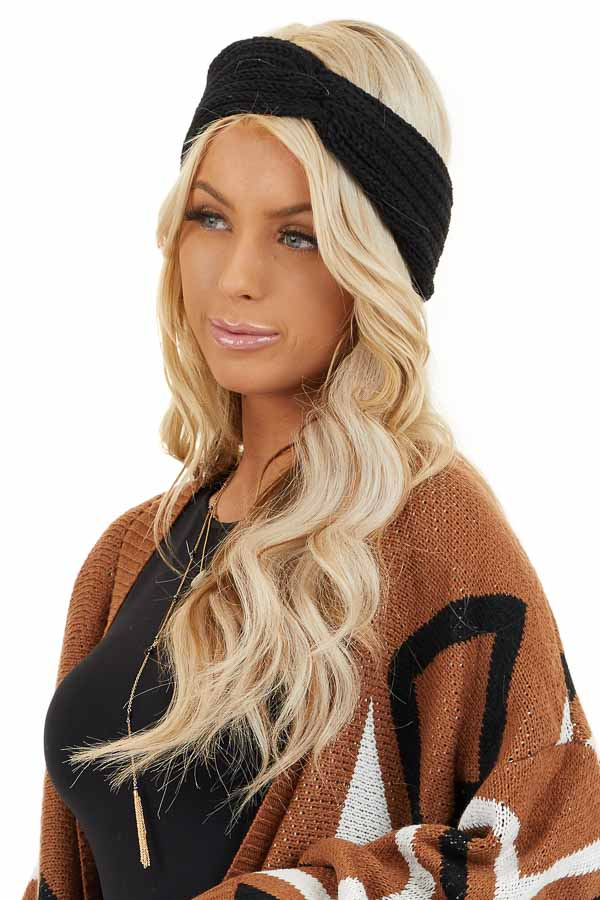Black Crochet Knit Headband with Front Knot Detail side view
