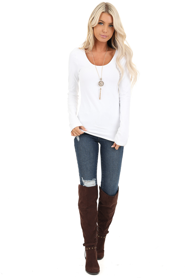 White Seamless Long Sleeve Top front full body