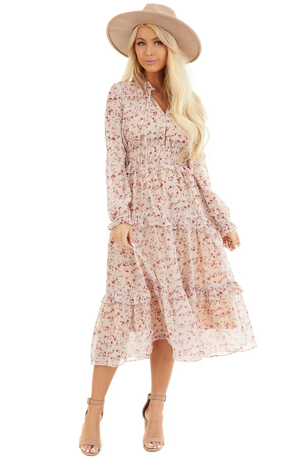 Cream and Cherry Floral Print Midi Dress with Ruffle Details front full body