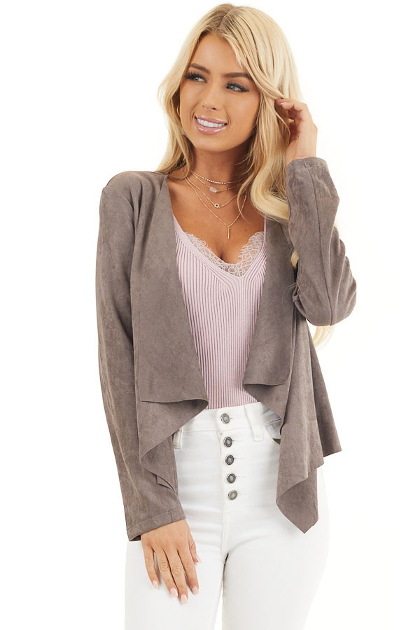 Mocha Long Sleeve Faux Suede Open Front Blazer front close up