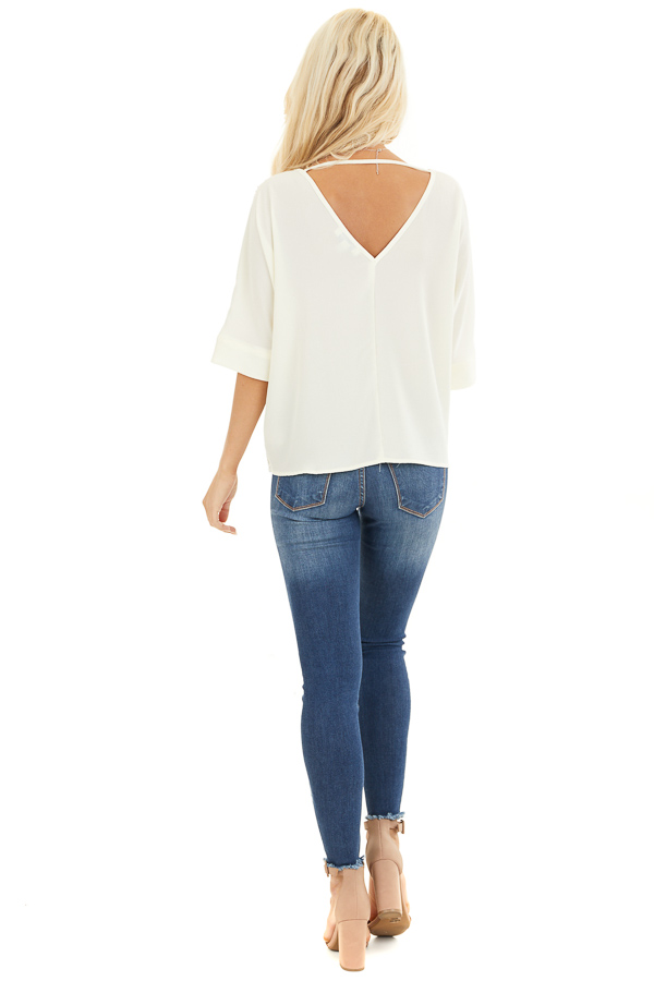 Cream Dolman Short Sleeve Top with Silver Sequins back full body