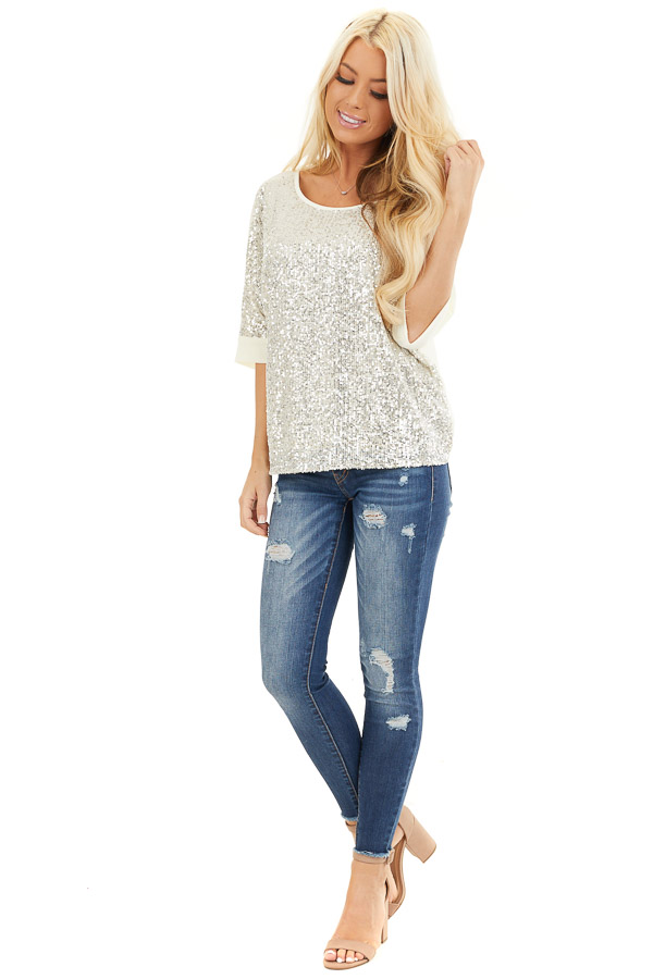 Cream Dolman Short Sleeve Top with Silver Sequins front full body
